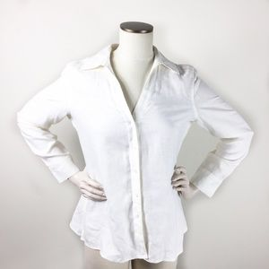 Talbots White Irish Linen Blouse 12P